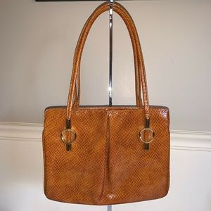 LOU TAYLOR Italy Embossed Leather Bag w/ Mirror